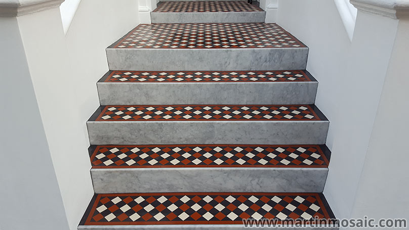 Victorian floor tiles with marble risers