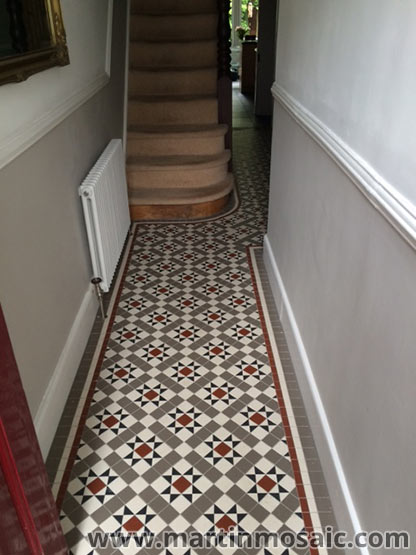 Unglazed Victorian floor tiles, hallway. Tiles size 5cmx5cm thick 5mm, colours: super white, red, grey.