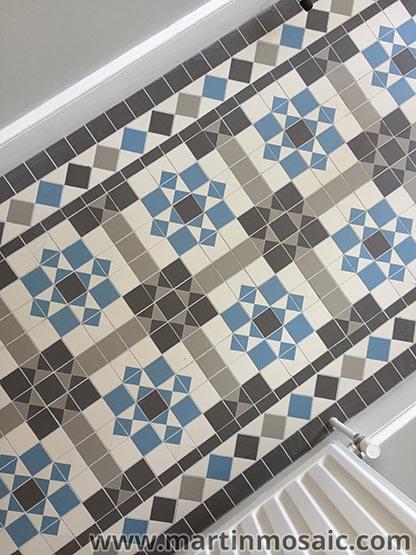 Victorian mosaic floor tiles, hallway.