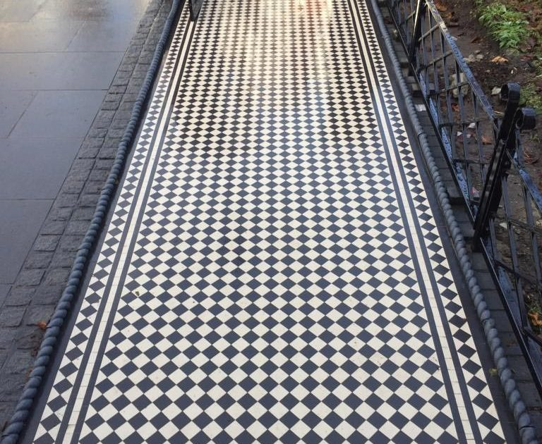 Victorian floor tiles - pathway. Tiles 5cm x 5cm thick 5mm. Colours: white, black.