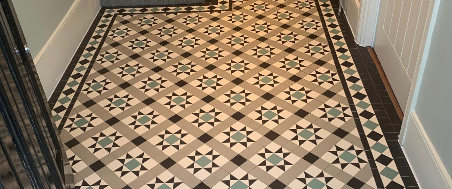 Victorian floor tiles - hallway. Tiles 5cm x 5cm thick 5mm. Colours: super white, green, pale grey, black. Tooting.