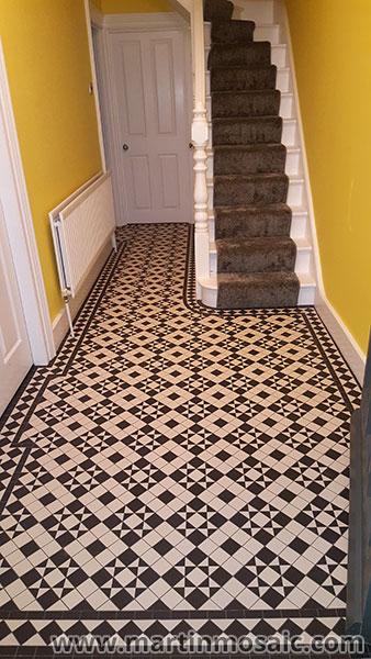 Unglazed victorian floor tiles, hallway. Tiles 5cmx5cm thickness 5mm. Super white & black. Eltham.