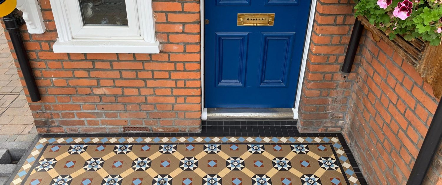 Entrance. Tiles 5cm x 5cm thick 5mm. Colours: coffe, white, cognac, black, blue, red, encaustic tiles. Ashford.